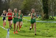23 March 2019; Cara Laverty of Thornhill College, Co.Derry, Ireland, Hannah O'Keeffe of Loreto Kilkenny, Co. Kilkenny, Ireland, and Holly Brennan of Sacred Heart Drogheda, Co. Meath, Ireland, competing in the Intermediate Girls event during the SIAB Schools Cross Country International at Santry Demense in Santry, Dublin. Photo by Sam Barnes/Sportsfile
