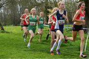 23 March 2019; Emmy Thornton of Strathearn School, Co.Antrim, Ireland, centre, competing in the Junior Girls event  during the SIAB Schools Cross Country International at Santry Demense in Santry, Dublin. Photo by Sam Barnes/Sportsfile
