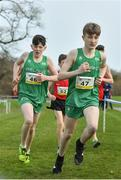 23 March 2019; Niall Murphy of St.Flannan's College, Co.Clare, Ireland, left, and Nicholas Griggs of Cookstown High School, Co.Tyrone, Ireland, during the SIAB Schools Cross Country International at Santry Demense in Santry, Dublin. Photo by Sam Barnes/Sportsfile