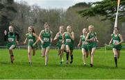 23 March 2019; Team Ireland at the start of the Junior Girls event during the SIAB Schools Cross Country International at Santry Demense in Santry, Dublin. Photo by Sam Barnes/Sportsfile