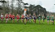 23 March 2019; Athletes at the start of the Junior Girls event during the SIAB Schools Cross Country International at Santry Demense in Santry, Dublin. Photo by Sam Barnes/Sportsfile