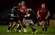 23 March 2019; Dan Goggin of Munster is tackled by Tommaso Boni, left, and Jimmy Tuivaiti of Zebre during the Guinness PRO14 Round 18 match between Munster and Zebre at Thomond Park in Limerick. Photo by Diarmuid Greene/Sportsfile