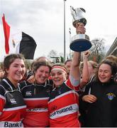 23 March 2019; Wicklow RFC captain Amy O'Neill and her team-mates celebrate with the cup after the Bank of Ireland Leinster Rugby Women's Division 2 Cup Final match between Wicklow RFC and Edenderry RFC at Naas RFC in Naas, Kildare. Photo by Piaras Ó Mídheach/Sportsfile