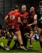 23 March 2019; Rhys Marshall of Munster celebrates with team-mates Dan Goggin, Tyler Bleyendaal, Jeremy Loughman, and Alby Mathewson, after scoring his side's second try during the Guinness PRO14 Round 18 match between Munster and Zebre at Thomond Park in Limerick. Photo by Diarmuid Greene/Sportsfile