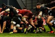 23 March 2019; Rhys Marshall of Munster scores his side's second try despite the tackle of Mattia Bellini of Zebre during the Guinness PRO14 Round 18 match between Munster and Zebre at Thomond Park in Limerick. Photo by Diarmuid Greene/Sportsfile