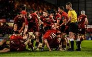 23 March 2019; Niall Scannell, right, scorer of Munster's fourth try, along with Jack O'Donoghue, left, are helped to their feet by team-mates after Scannell's try during the Guinness PRO14 Round 18 match between Munster and Zebre at Thomond Park in Limerick. Photo by Diarmuid Greene/Sportsfile