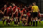 23 March 2019; Niall Scannell of Munster is helped to his feet by team-mates after scoring his side's fourth try during the Guinness PRO14 Round 18 match between Munster and Zebre at Thomond Park in Limerick. Photo by Diarmuid Greene/Sportsfile