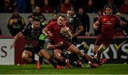 23 March 2019; Mike Haley of Munster scores his side's fifth try despite the efforts of Mattia Bellini, left, and Apisai Tauyavuca of Zebre during the Guinness PRO14 Round 18 match between Munster and Zebre at Thomond Park in Limerick. Photo by Diarmuid Greene/Sportsfile
