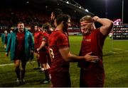 23 March 2019; Dan Goggin, left, and John Ryan of Munster celebrate after the Guinness PRO14 Round 18 match between Munster and Zebre at Thomond Park in Limerick. Photo by Diarmuid Greene/Sportsfile