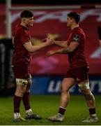 23 March 2019; Jack O'Donoghue, left, and Dan Goggin of Munster celebrate after the Guinness PRO14 Round 18 match between Munster and Zebre at Thomond Park in Limerick. Photo by Diarmuid Greene/Sportsfile