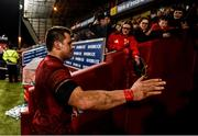 23 March 2019; CJ Stander of Munster is greeted by supporters as he leaves the field after the Guinness PRO14 Round 18 match between Munster and Zebre at Thomond Park in Limerick. Photo by Diarmuid Greene/Sportsfile