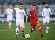 23 March 2019; Robbie Brady of Republic of Ireland and Tjay De Barr of Gibraltar during the UEFA EURO2020 Qualifier Group D match between Gibraltar and Republic of Ireland at Victoria Stadium in Gibraltar. Photo by Stephen McCarthy/Sportsfile