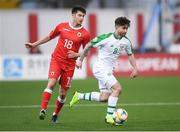 23 March 2019; Sean Maguire of Republic of Ireland and Anthony Hernandez of Gibraltar during the UEFA EURO2020 Qualifier Group D match between Gibraltar and Republic of Ireland at Victoria Stadium in Gibraltar. Photo by Stephen McCarthy/Sportsfile