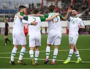 23 March 2019; Jeff Hendrick, second from right, is congratulated by his Republic of Ireland team-mates, from left, Matt Doherty, Seamus Coleman and Sean Maguire after scoring their side's goal during the UEFA EURO2020 Qualifier Group D match between Gibraltar and Republic of Ireland at Victoria Stadium in Gibraltar. Photo by Stephen McCarthy/Sportsfile