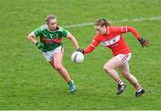 24 March 2019; Ashling Hutchings of Cork in action against Sinéad Cafferky of Mayo during the Lidl Ladies NFL Round 6 match between Mayo and Cork at Elverys MacHale Park in Castlebar, Mayo. Photo by Piaras Ó Mídheach/Sportsfile