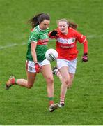 24 March 2019; Niamh Kelly of Mayo in action against Eimear Kiely of Cork during the Lidl Ladies NFL Round 6 match between Mayo and Cork at Elverys MacHale Park in Castlebar, Mayo. Photo by Piaras Ó Mídheach/Sportsfile