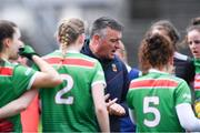 24 March 2019; Mayo manager Peter Leahy speaks to his players before the Lidl Ladies NFL Round 6 match between Mayo and Cork at Elverys MacHale Park in Castlebar, Mayo. Photo by Piaras Ó Mídheach/Sportsfile