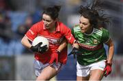 24 March 2019; Eimear Scally of Cork in action against Niamh Kelly of Mayo during the Lidl Ladies NFL Round 6 match between Mayo and Cork at Elverys MacHale Park in Castlebar, Mayo. Photo by Piaras Ó Mídheach/Sportsfile
