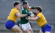 24 March 2019; Kevin McCarthy of Kerry in action against Conor Hussey, left, and David Murray of Roscommon during the Allianz Football League Division 1 Round 7 match between Roscommon and Kerry at Dr. Hyde Park in Roscommon. Photo by Sam Barnes/Sportsfile