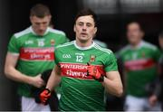 24 March 2019; Mayo captain Diarmuid O'Connor leads his team-mates to the pitch for the Allianz Football League Division 1 Round 7 match between Mayo and Monaghan at Elverys MacHale Park in Castlebar, Mayo. Photo by Piaras Ó Mídheach/Sportsfile