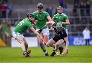 24 March 2019; Fergal Whitely of Dublin in action against Graeme Mulcahy, Paddy O'Loughlin and Dan Morrissey of Limerick  during the Allianz Hurling League Division 1 Semi-Final match between Limerick and Dublin at Nowlan Park in Kilkenny. Photo by Brendan Moran/Sportsfile