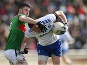 24 March 2019; Conor McManus of Monaghan in action against Brendan Harrison of Mayo during the Allianz Football League Division 1 Round 7 match between Mayo and Monaghan at Elverys MacHale Park in Castlebar, Mayo. Photo by Piaras Ó Mídheach/Sportsfile
