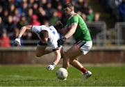 24 March 2019; Conor McManus of Monaghan is tackled by Brendan Harrison of Mayo during the Allianz Football League Division 1 Round 7 match between Mayo and Monaghan at Elverys MacHale Park in Castlebar, Mayo. Photo by Piaras Ó Mídheach/Sportsfile