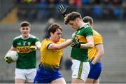 24 March 2019; David Clifford of Kerry and David Murray of Roscommon tussle off the ball during the Allianz Football League Division 1 Round 7 match between Roscommon and Kerry at Dr. Hyde Park in Roscommon. Photo by Sam Barnes/Sportsfile