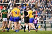 24 March 2019; Referee Anthony Nolan shows Niall Daly of Roscommon a yellow card during the Allianz Football League Division 1 Round 7 match between Roscommon and Kerry at Dr. Hyde Park in Roscommon. Photo by Sam Barnes/Sportsfile