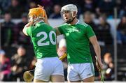24 March 2019; Séamus Flanagan of Limerick, left, celebrates his goal with Aaron Gillane of Limerick during the Allianz Hurling League Division 1 Semi-Final match between Limerick and Dublin at Nowlan Park in Kilkenny. Photo by Brendan Moran/Sportsfile