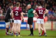 24 March 2019; Galway players remonstrate with referee Cormac Reilly after he awarded a penalty for Tyrone during the Allianz Football League Division 1 Round 7 match between Tyrone and Galway at Healy Park in Omagh. Photo by David Fitzgerald/Sportsfile