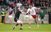 24 March 2019; Matthew Donnelly of Tyrone intercepts a pass to Galway goalkeeper Ruairí Lavelle on his way to scoring his side's second goal during the Allianz Football League Division 1 Round 7 match between Tyrone and Galway at Healy Park in Omagh. Photo by David Fitzgerald/Sportsfile