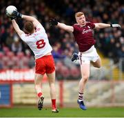 24 March 2019; Cathal McShane of Tyrone in action against Seán Andy Ó Ceallaigh of Galway during the Allianz Football League Division 1 Round 7 match between Tyrone and Galway at Healy Park in Omagh. Photo by David Fitzgerald/Sportsfile