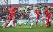 23 March 2019; Seán Maguire of Republic of Ireland shoots at goal under pressure from Jayce Olivero of Gibraltar during the UEFA EURO2020 Qualifier Group D match between Gibraltar and Republic of Ireland at Victoria Stadium in Gibraltar. Photo by Seb Daly/Sportsfile