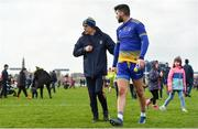 24 March 2019; Roscommon manager Anthony Cunningham, left, and Colm Lavin of Roscommon leave the field following the Allianz Football League Division 1 Round 7 match between Roscommon and Kerry at Dr. Hyde Park in Roscommon. Photo by Sam Barnes/Sportsfile