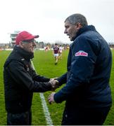 24 March 2019; Tyrone manager Mickey Harte and Galway manager Kevin Walsh shake hands following the Allianz Football League Division 1 Round 7 match between Tyrone and Galway at Healy Park in Omagh. Photo by David Fitzgerald/Sportsfile