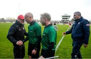 24 March 2019; Tyrone manager Mickey Harte with referee Cormac Reilly following the Allianz Football League Division 1 Round 7 match between Tyrone and Galway at Healy Park in Omagh. Photo by David Fitzgerald/Sportsfile
