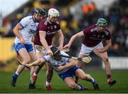 24 March 2019; Philip Mahony of Waterford in action against Joe Canning of Galway during the Allianz Hurling League Division 1 Semi-Final match between Galway and Waterford at Nowlan Park in Kilkenny. Photo by Harry Murphy/Sportsfile
