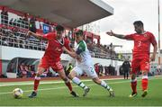 23 March 2019; Anthony Hernandez of Gibraltar in action against Seamus Coleman of Republic of Ireland during the UEFA EURO2020 Qualifier Group D match between Gibraltar and Republic of Ireland at Victoria Stadium in Gibraltar. Photo by Seb Daly/Sportsfile