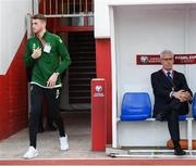 23 March 2019; Mark Travers and Republic of Ireland manager Mick McCarthy prior to the UEFA EURO2020 Qualifier Group D match between Gibraltar and Republic of Ireland at Victoria Stadium in Gibraltar. Photo by Stephen McCarthy/Sportsfile