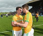 24 March 2019; Meath's James McEntee and Shane McEntee celebrate after the game in the Allianz Football League Division 2 Round 7 match between Meath and Fermanagh at Páirc Tailteann in Navan, Co Meath. Photo by Philip Fitzpatrick/Sportsfile