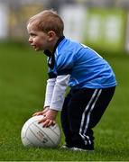 24 March 2019; Two year old Dublin supporter Louis Kelly plays ball during half time of the Allianz Football League Division 1 Round 7 match between Cavan and Dublin at Kingspan Breffni in Cavan. Photo by Ray McManus/Sportsfile