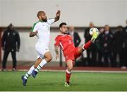 23 March 2019; Jospeh Chipolina of Gibraltar and David McGoldrick of Republic of Ireland during the UEFA EURO2020 Qualifier Group D match between Gibraltar and Republic of Ireland at Victoria Stadium in Gibraltar. Photo by Stephen McCarthy/Sportsfile