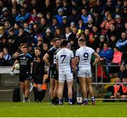 24 March 2019; Referee Rory Hickey issues yellow cards to James McCarthy and Niall Scully of Dublin and to Conor Rehill and Killian Clarke of Cavan during the Allianz Football League Division 1 Round 7 match between Cavan and Dublin at Kingspan Breffni in Cavan. Photo by Ray McManus/Sportsfile