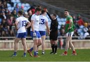 24 March 2019; Referee Derek O'Mahoney shows the red card to Fintan Kelly of Monaghan during the Allianz Football League Division 1 Round 7 match between Mayo and Monaghan at Elverys MacHale Park in Castlebar, Mayo. Photo by Piaras Ó Mídheach/Sportsfile