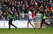 24 March 2019; Fintan Kelly of Monaghan leaves the field after being shown the red card by referee Derek O'Mahoney during the Allianz Football League Division 1 Round 7 match between Mayo and Monaghan at Elverys MacHale Park in Castlebar, Mayo. Photo by Piaras Ó Mídheach/Sportsfile