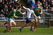 24 March 2019; Jack McCarron of Monaghan in action against Mayo players, from left, Stephen Coen, Matthew Ruane, and Aidan O'Shea during the Allianz Football League Division 1 Round 7 match between Mayo and Monaghan at Elverys MacHale Park in Castlebar, Mayo. Photo by Piaras Ó Mídheach/Sportsfile