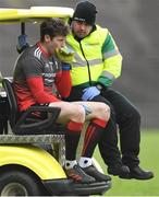 24 March 2019; Mayo goalkeeper David Clarke leaves the field on a medical buggy, after a first half challenge from Darren Hughes of Monaghan, who was shown a yellow card by referee Derek O'Mahoney, during the Allianz Football League Division 1 Round 7 match between Mayo and Monaghan at Elverys MacHale Park in Castlebar, Mayo. Photo by Piaras Ó Mídheach/Sportsfile