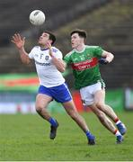 24 March 2019; Drew Wylie of Monaghan in action against Fergal Boland of Mayo during the Allianz Football League Division 1 Round 7 match between Mayo and Monaghan at Elverys MacHale Park in Castlebar, Mayo. Photo by Piaras Ó Mídheach/Sportsfile