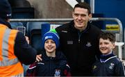 24 March 2019; Dublin's Brian fenton poses for a picture with Cavan supporters Sean, 12 years, and his brother Dara Lovett, 10, from Ballyjamesduff, before the Allianz Football League Division 1 Round 7 match between Cavan and Dublin at Kingspan Breffni in Cavan. Photo by Ray McManus/Sportsfile